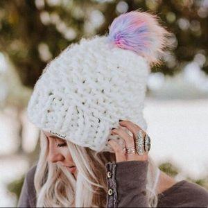 Rainbow Ivory Pom Knitted Beanie